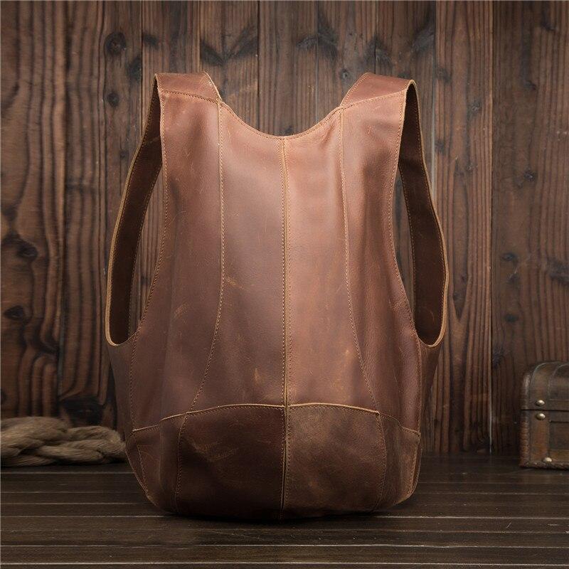 Sac à dos en cuir véritable pour hommes Mini sac à dos pour femmes d'affaires Messenger rétro sac fourre-tout décontracté sac à bandoulière sac de voyage pour hommes sac à main en cuir de vachette - 2