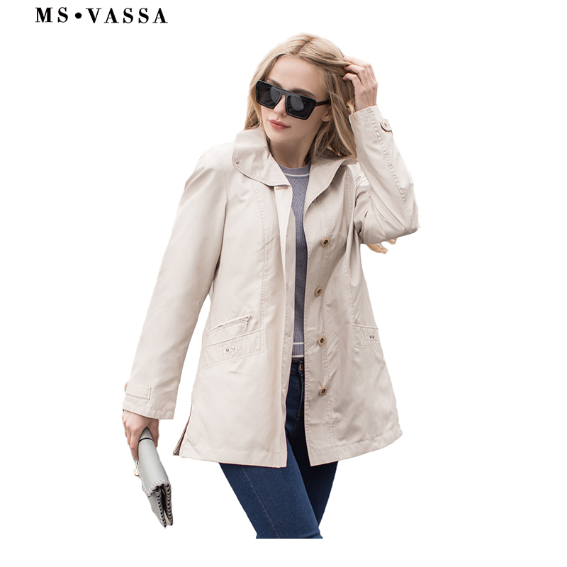 MS VASSA 2019 Jackets Women New Spring basic coat casual ladies jackets plus size 5XL 7XL turn down collar female  outerwear-in Jackets from Women's Clothing    1