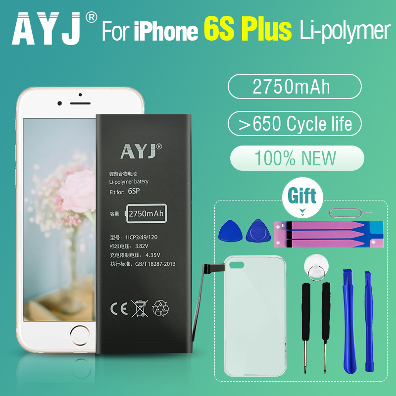 AYJ 2750 mAh 100% New for iPhone 6S Plus 6splus Battery Replacement with Free Tools Kit Battery Tape Cover