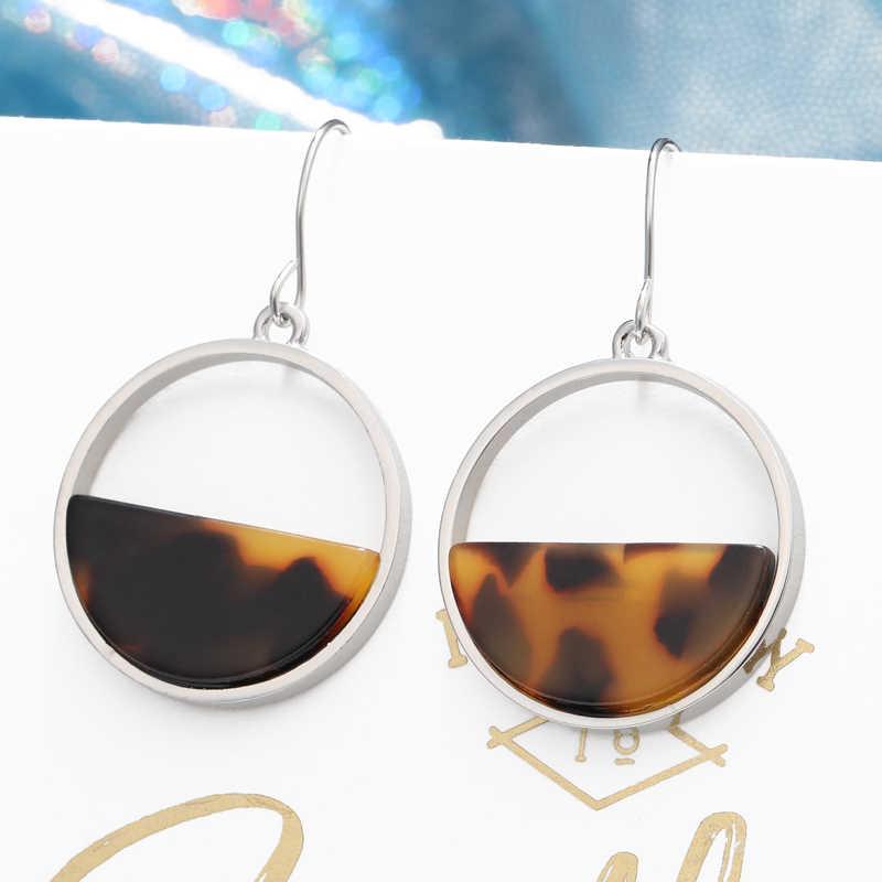 ZA 2019 Bohemia Leopard Acrylic Drop Earring For Women Vintage Resin Circle Statement Dangle Earring Female jewelry Brincos