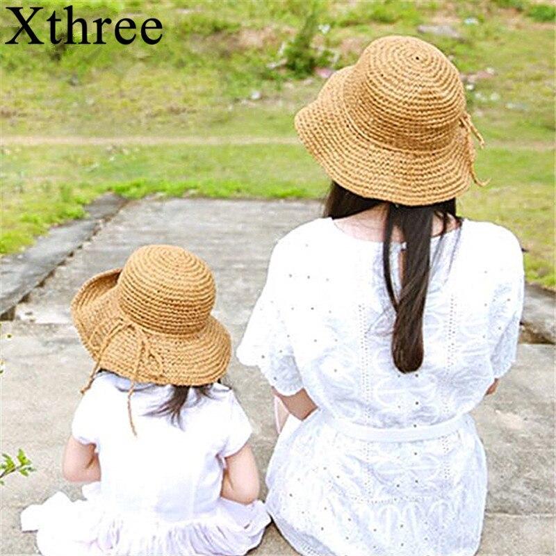 Xthree two size handmade Weave straw women summer hat kids panamas Vintage Sinamay Fascinator hat for girl