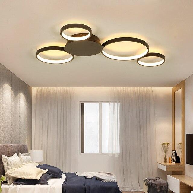 קפה או לבן גימור מודרני led תקרת אורות סלון חדר שינה מחקר חדר הורים AC85 265V Led תקרת מנורת גופי