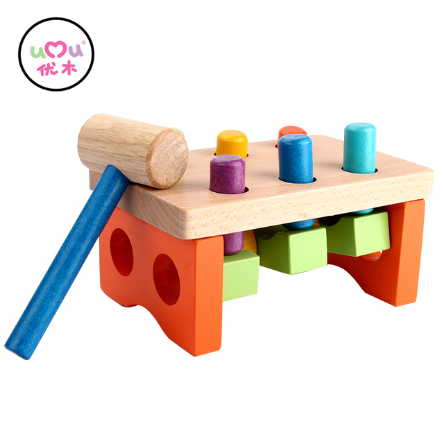 [Umu] See Saw Pound A Peg Kids Cheering Stick Children Educational Wooden  Piling Table