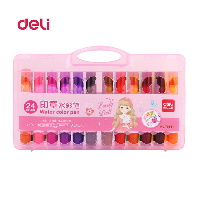 Deli 24 Colors/Set Water Color stamp Pen Brush Marker For Kids painting School Stationery multi picture Pens for Artist Supplies deli s557 marker pen