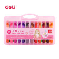 Deli 24 Colors/Set Water Color stamp Pen Brush Marker For Kids painting School Stationery multi picture Pens for Artist Supplies