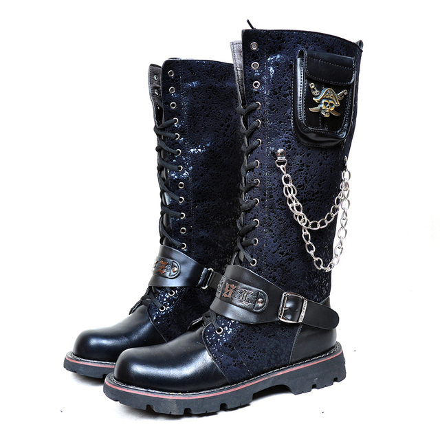 Free shipping 2015 Winter and autumn Men's shoes Punk Mid-Calf boots Rock personality Motorcycle boots for men