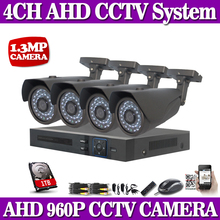 HD 4CH CCTV system 1.0MP 720P camera Real time Surveillance AHD DVR KIT 4PCS outdoor 2500TVL Security Camera System 1TB HDD