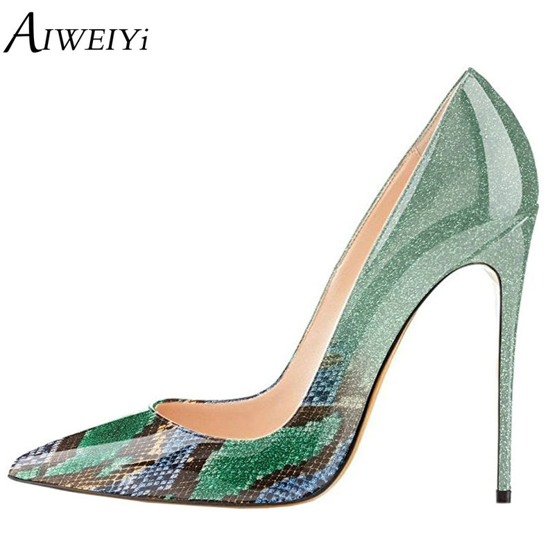 AIWEIYi Pointed Toe Women High Heels Platform Pumps Stiletto High Heels Snake Print Ladies Wedding Shoes Casual Shoes Woman цена 2017