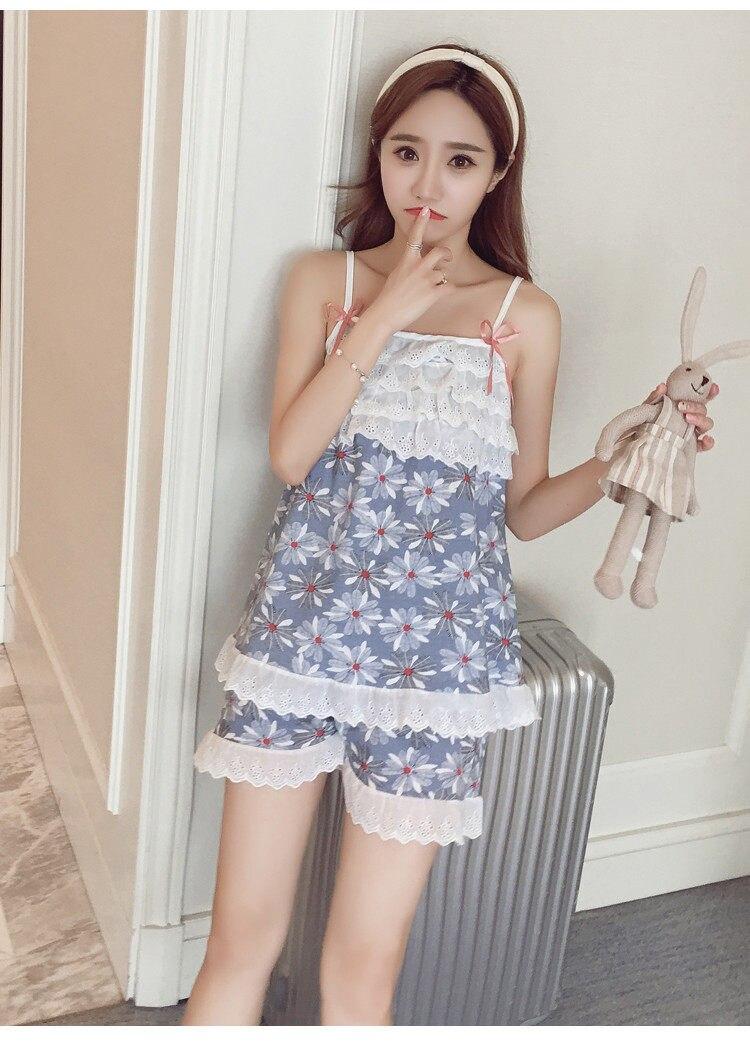 6bfec86c57f379 Aliexpress.com : 2017 neue Sommer Sleeveless Asien/Tag M XL Sexy Spitze  Baumwolle Pyjama Sets Frauen Des Isolationsschlauchbügels Sleeveless ...