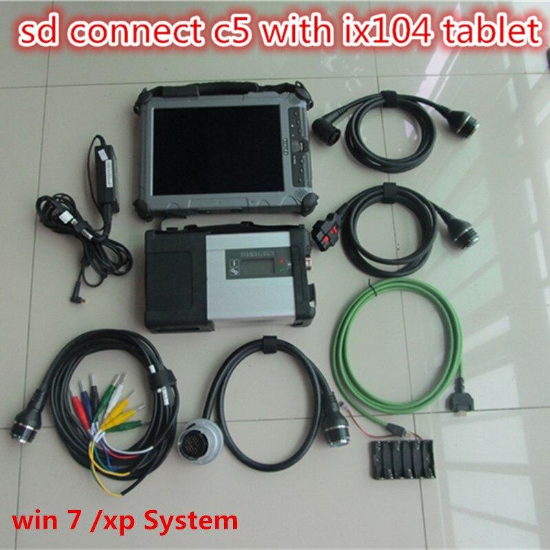 Beste Mb Sd Verbinden Kompakte 5 Sterne Diagnose C5 + Neue Software V2018.09 + Xplore Ix104 C5 I7 Cpu Industrie Robusten Tablet Pc