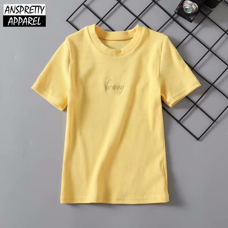3fffd7de30f Anspretty Apparel 2019 summer short sleeve crop top women yellow embroidery  honey t shirt bodycon stretch