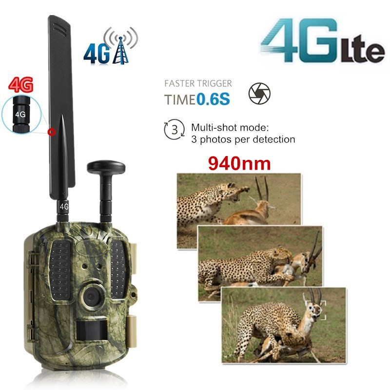 4G FDD LTE Scout Guard Camera Trap Hunting Camera GPS APP MMS 940nm Night Vision Wild Camera Recorder 1080P Trail Game Camera 4G