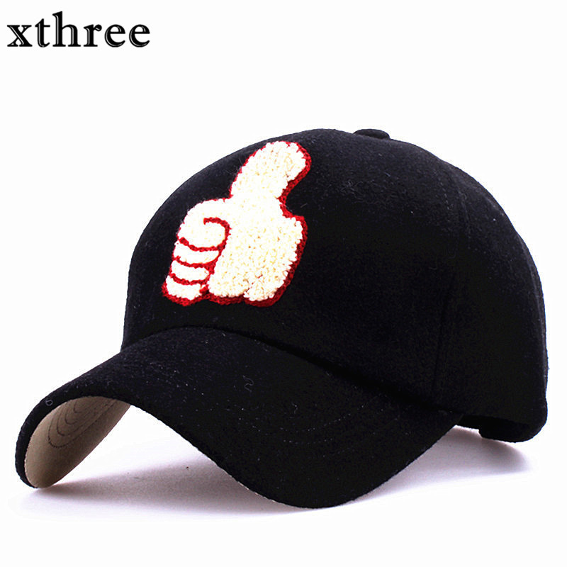 Xthree fashion wool cap fall winter baseball cap snapback hat Thumb embroidery casquette Hat for men women cap wholesale xthree fashion baseball cap summer snapback hat letter embroidery casquette hat for men women cap wholesale