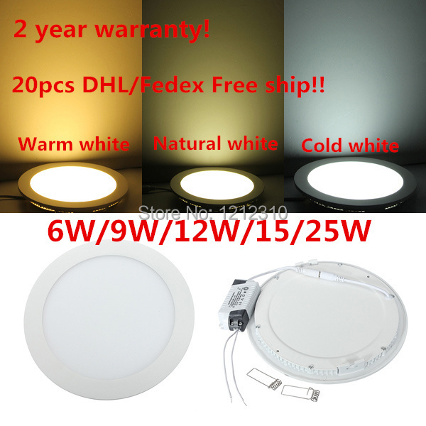 DHL free shipping Led Down Light 6W 9W 12W 15W 25W Led Ceiling Downlight AC85 265V