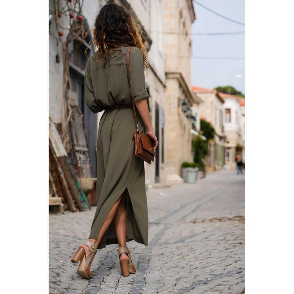 Ilkbahar/yaz moda gevşek uzun kollu elbise ile kemer rahat banliyö ofis gömlek mizaç elbise 2019