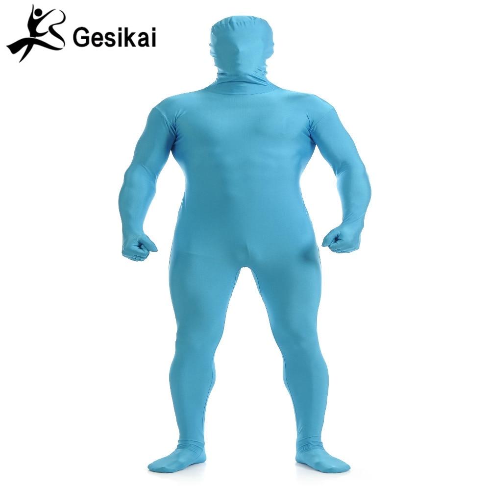 Gesikai Mens Lycra Full Bodysuit Sky Blue Zentai Suit Custom Second Skin Tight Suits Spandex Bodysuit Halloween Costume for Men