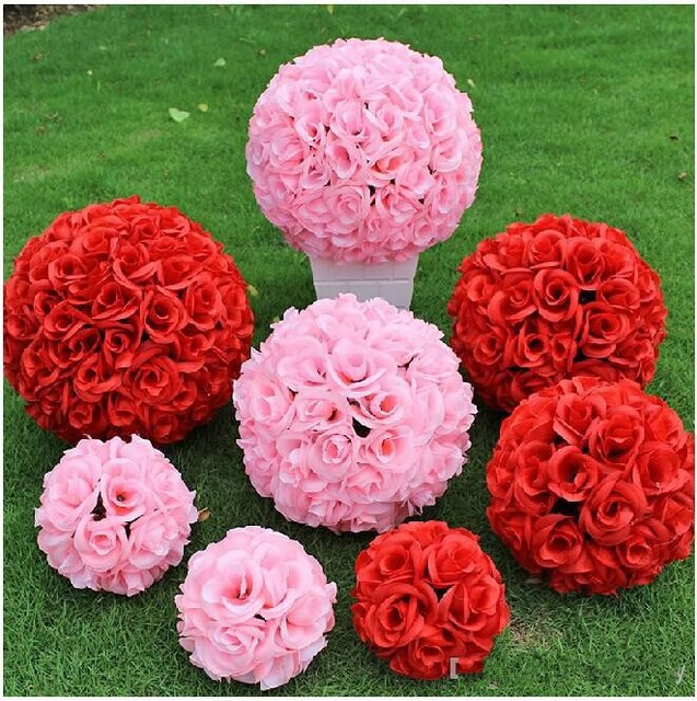 25 cm artificial encryption rose silk flower kissing balls hanging 25 cm artificial encryption rose silk flower kissing balls hanging ball for christmas ornaments wedding party mightylinksfo Choice Image