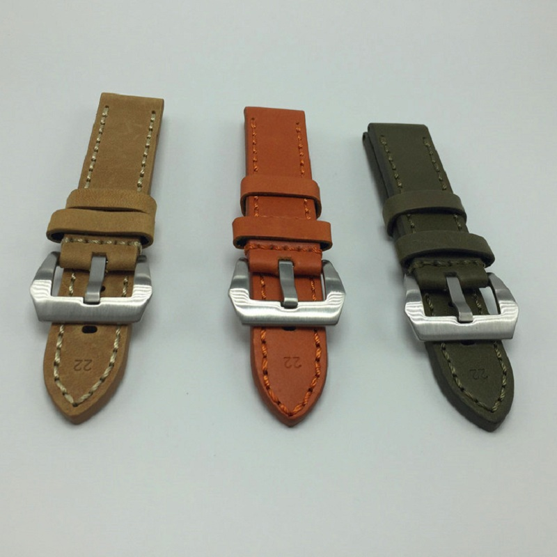 цена на 22mm 24mm Leather Watch Strap Watch Band  Man Watch Straps Green Orange Beige with Stainless Steel Buckle