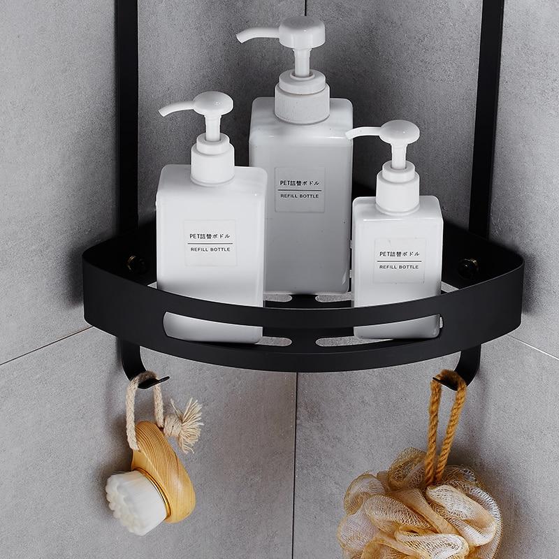 Maijiesheng Pure black Bathroom shelf black double layer bathroom corner shelf bathroom holder showe room bathroom accessories