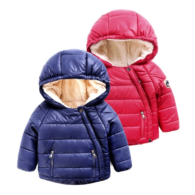 LittleSpring Baby Boy Winter Jacket Warm Cotton Lining Hooded Coat Fashion Oblique Zipper Design WindProof Kids Boy Coat Outwear