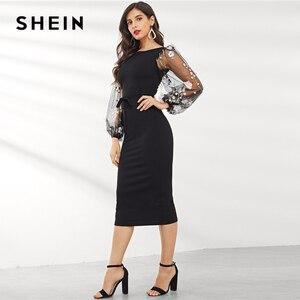 Image 2 - שיין שחור Applique רקום רשת שרוול עיפרון שמלת נשים סתיו אלגנטי מקרית סירת צוואר בישוף שרוול עיפרון שמלות