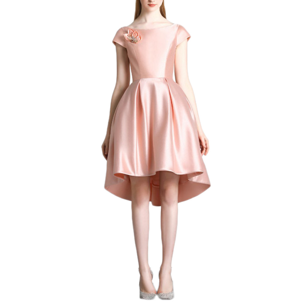 570ffbf3b0a 2016 New Style Pink Charming Evening Dresses A Line Round Neck Short Sleeve  with zip back Women Dress Front High Back Low