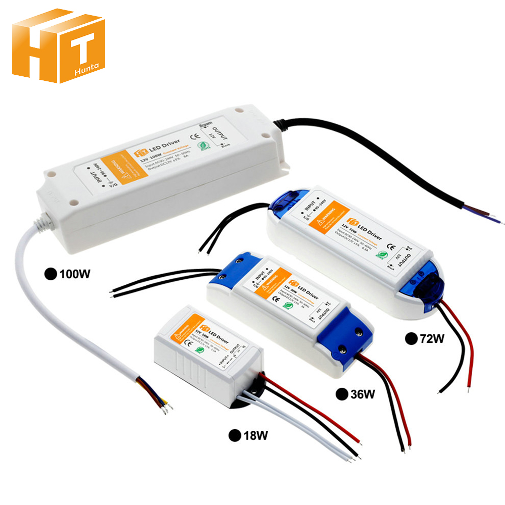 LED Lighting Transformers DC12V 18W 36W 72W 100W High Quality Safe Driver For LED Strip Power Supply