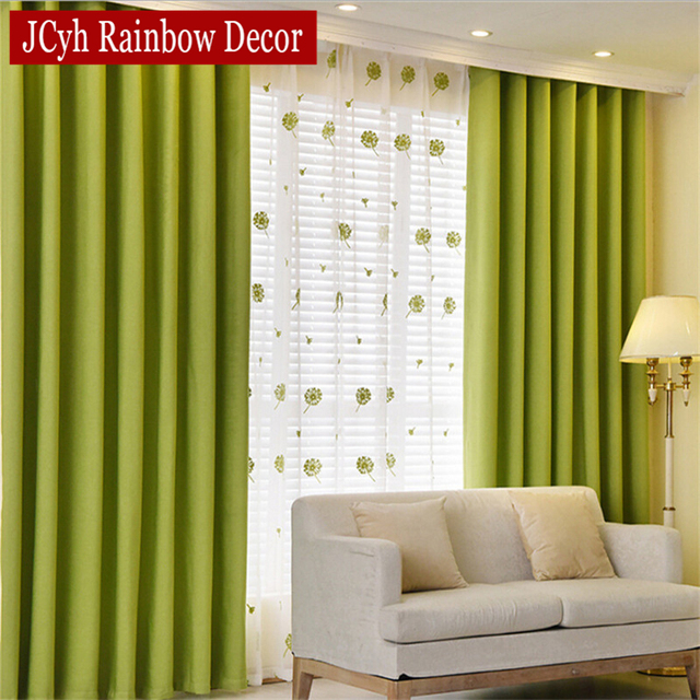 Solid Blackout Curtains For Bedroom Green Kids Curtains For Living Room  Kitchen Window Curtains Fabric Blind