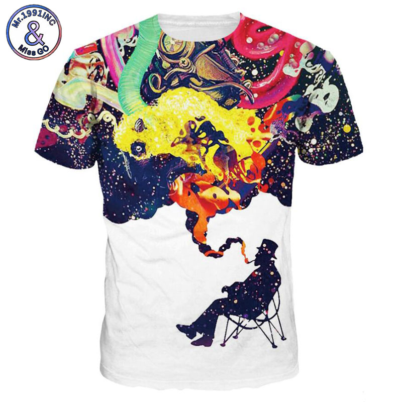 Mr.1991INC 2018 New Hot Men/Women t shirt Short Sleeve Summer 3D starry sky digital printing T-shirt Tops Tees Size S-3XL NA258