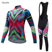 TELEYI Cycling Pro Team Women's Long Sleeve Ropa Ciclismo Cycling Jersey Sets Winter Pro Racing Bicycle Clothing Uniform S-4XL