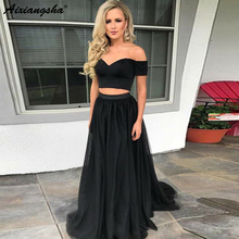 цена на Simple Off the Shoulder A-Line Tulle Black Prom Evening Gown Two Piece Prom Dress 2019