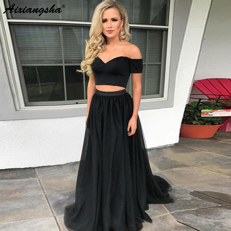 Simple Off the Shoulder A-Line Tulle Black   Prom   Evening Gown Two Piece   Prom     Dress   2019