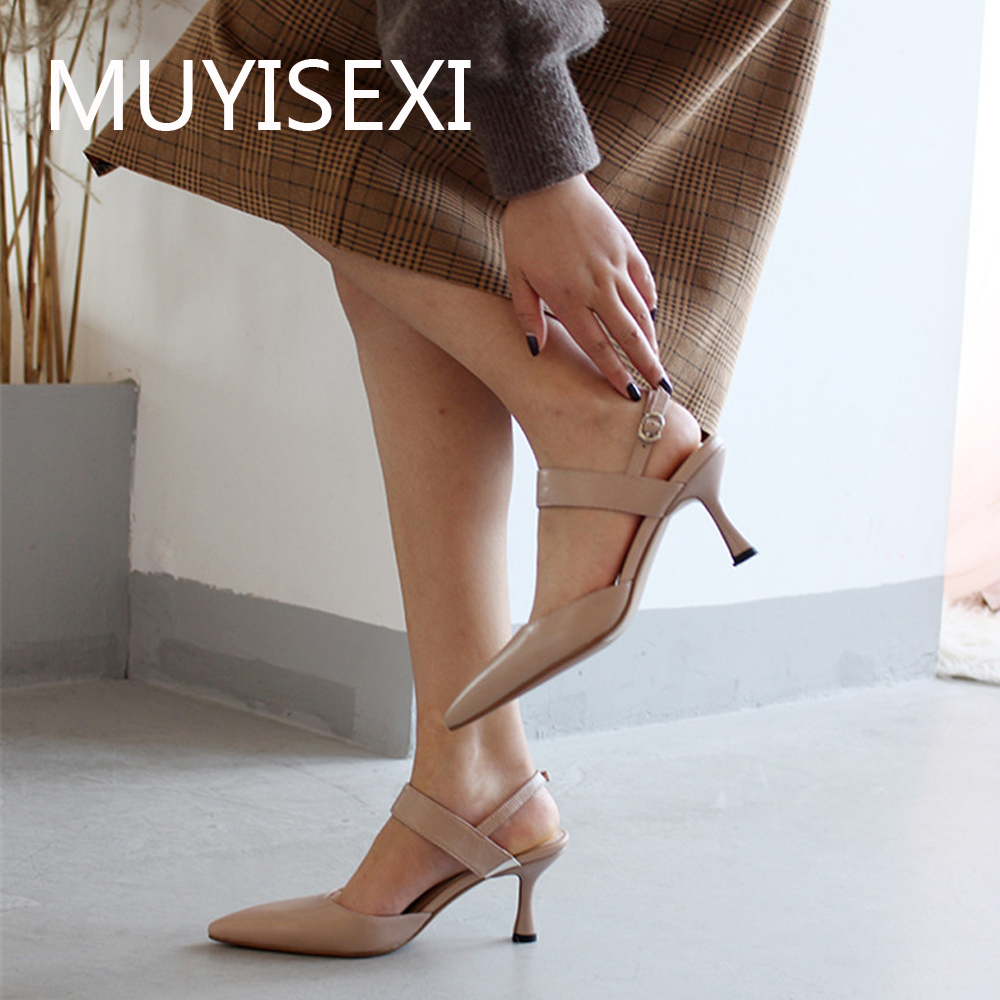 Summer Slingbacks Women Pumps Full Genuine leather Pointed Toe 6.5 cm High Heel Women Shoes Office Ladies XJN09 MUYISEXISummer Slingbacks Women Pumps Full Genuine leather Pointed Toe 6.5 cm High Heel Women Shoes Office Ladies XJN09 MUYISEXI