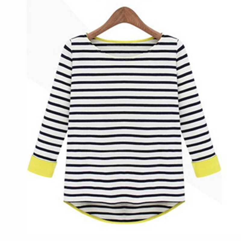 S~2XL Women Tops Fashion 2015 Spring Three Quarter Sleeve Striped T Shirts Tees Cotton Puls Size Clothing Free Shipping ZL2763