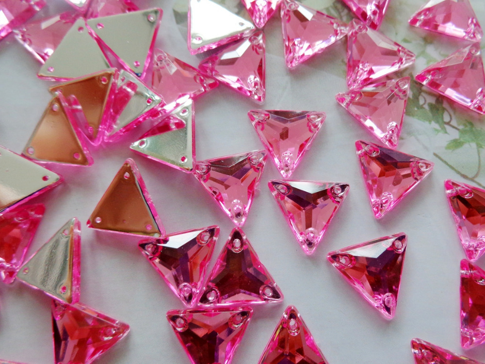 Pink beads 12mm Triangle shape rhinestones Sew on crystal gem stones Acryl crystal stras ...