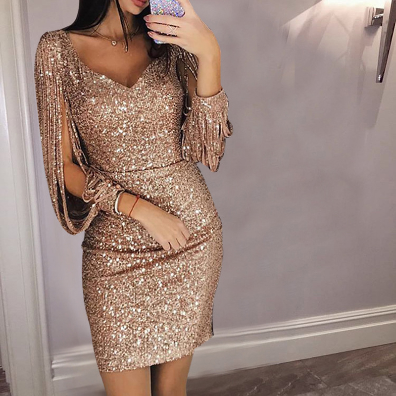 Gold Silver Women Sexy Tassel Sequin  Party Dress Slit Sleeve V-neck Club Mini Dress Autumn Long Sleeve Elegant Sparkly Dress