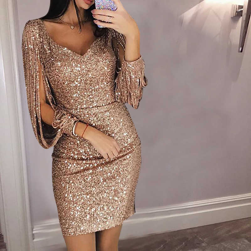 006145c82307 Gold Silver Women Sexy Tassel Sequin Party Dress Slit Sleeve V-neck Club  Mini Dress