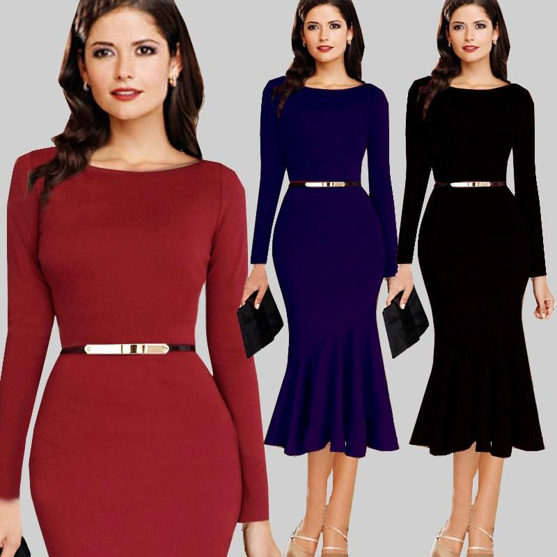 Womens Long Sleeve Autumn Below Knee Formal Vintage Dress 2018 Sexy
