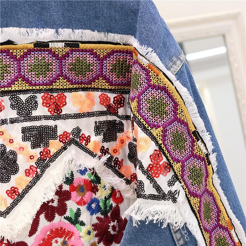Trou Bleu Jacekt Brodé Floral Manteaux Jeans Veste National Femmes Automne Déchiré 2018 Denim De Dos Lâche Nouveau 8Ewa0