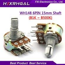 30pcs WH148 B1K B2K B5K B10K B20K B50K B100K B500K 6Pin Shaft  Amplifier Dual Stereo Potentiometer 1K 2K 5K 10K 50K 100K 500K