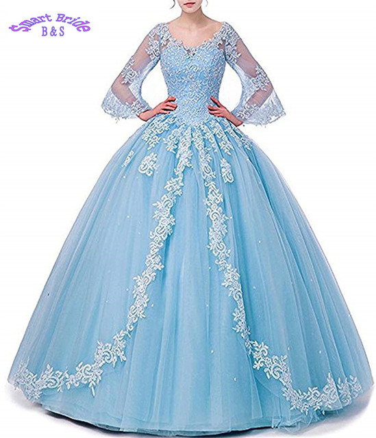 Lace Appliques Quinceanera Dress for Sweet 16 Beaded Ball Gown Long Sleeve Formal Party  BaD5