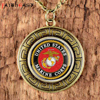 Faitheasy Vintage Bronze United States Marine Corps Necklace Men Women Retro Punk Jewelry Pendant Long Necklace Chain Gifts