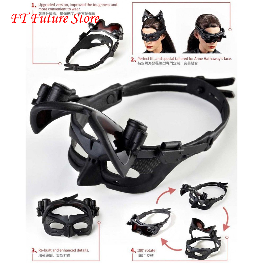 1/6 Scale Figure Accessory Black Catwoman Female Goggles Blinkers for 12'' Woman Figure Body Accessories
