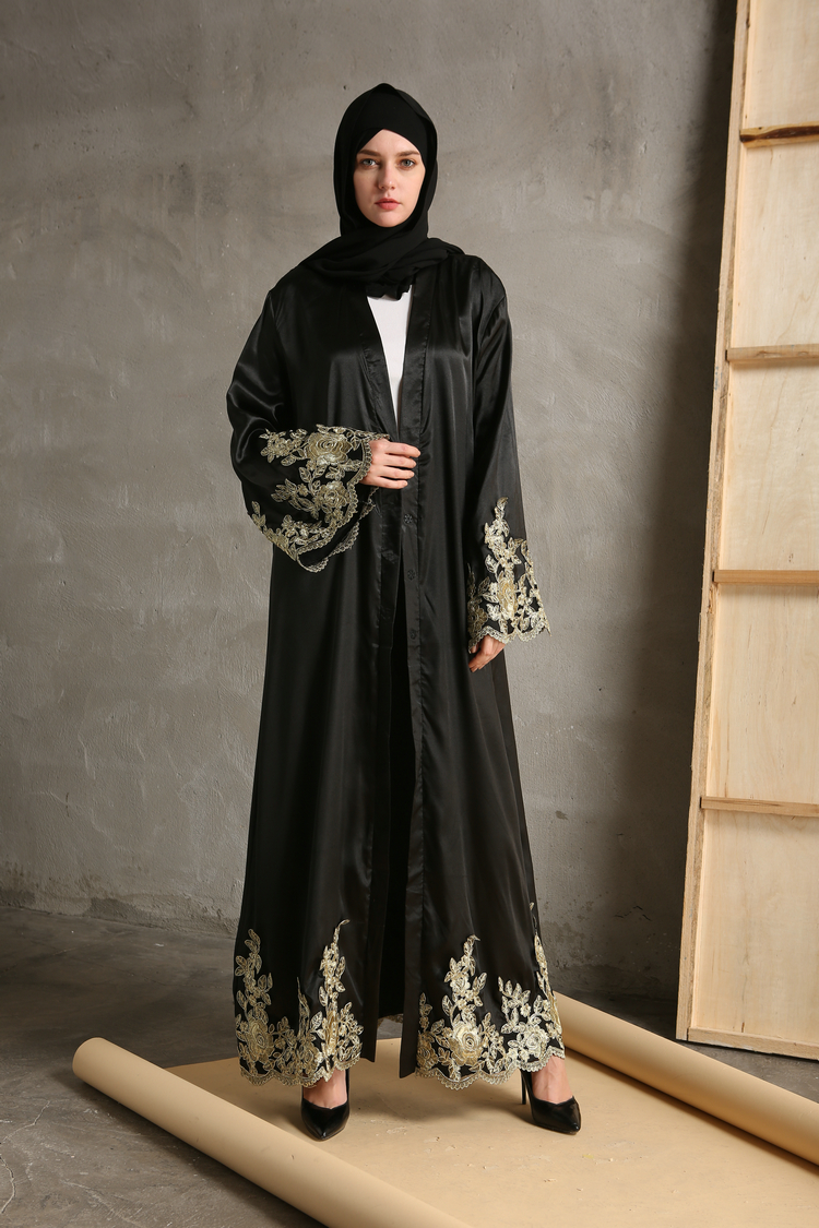 2018 Elegant Embroidery Women Muslim Dress Cardigan Loose Style Dubai Middle East Long Robe Moroccan Ramadan Arab Islamic Dress