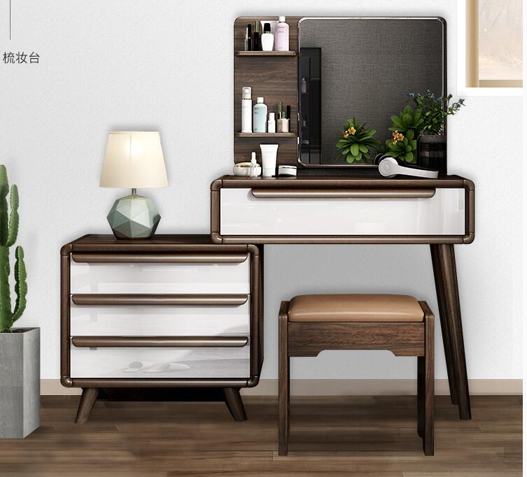 Real Wood Dresser Contracted Contemporary Web Celebrity Make Up Desk Small Family Bedroom Retractable Make Up Table.