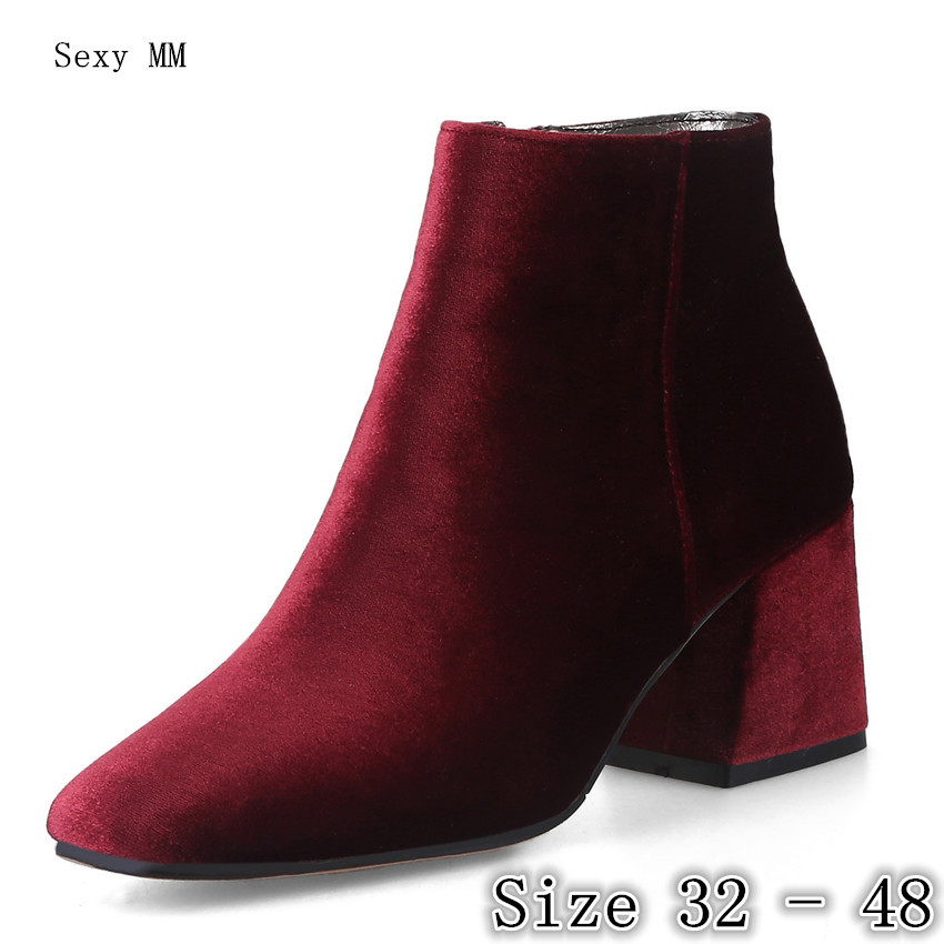 Spring Autumn High Heels Women Ankle Boots Woman Short Boots High Heel Shoes Small Plus Size 32 33 - 40 41 42 43 44 45 46 47 48 цена