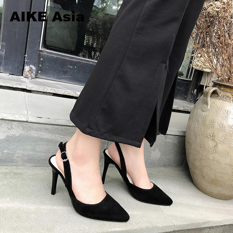 The New 2019 Sexy Thin High Heel Pointed Toe Suede Woman Pumps Fashion Slip On Party Lazy High Heel Shoes Ladies Black