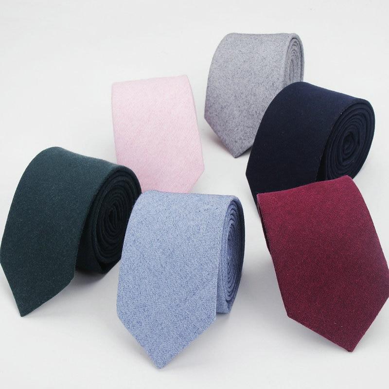 Cotton Neck Ties For Men Casual Suits Skinny Tie Gravatas Solid Black Mens Neckties For Business 7cm Width Wedding Navy Men Ties