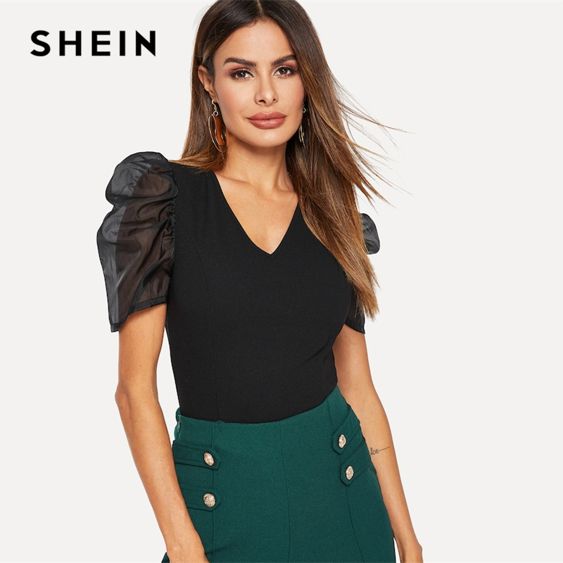 SHEIN Black V Neck Sheer Contrast Mesh Puff Sleeve Slim Fitted Top Women Spring Party Night Out Short Sleeve Tshirt Tops