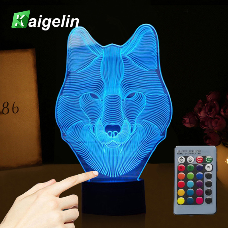 Novelty 3D Wolf Lamp USB LED Touch Sensor Light 7 Colors Remote Control LED Office Table Lamp Luminaria Children's Night Light 3d table lamp luminaria led night light